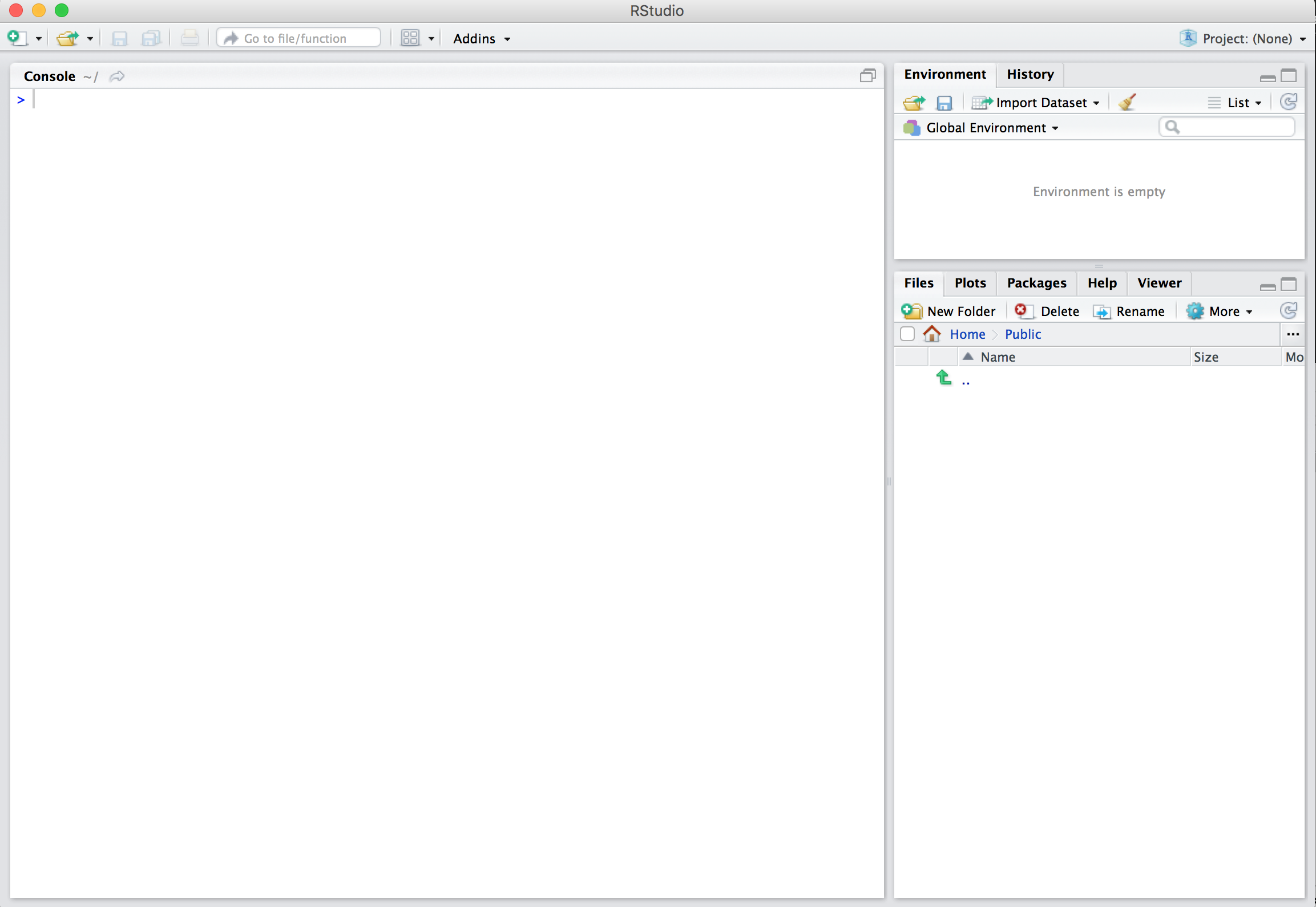 Initial page for RStudio Desktop